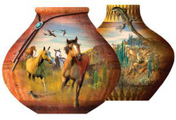 Southwestern Pots Horses Jigsaw Puzzle