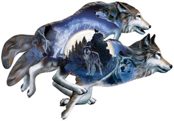 Moonlight Warrior Wolves Shaped Puzzle