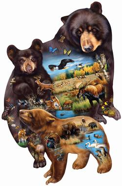 Bear Family Adventure Wildlife Shaped Puzzle