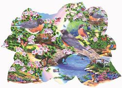 Robins in the Park Lakes / Rivers / Streams Jigsaw Puzzle