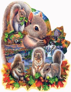 Autumn Squirrels Wildlife Shaped
