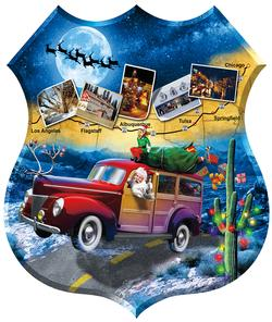 Santa's Highway Santa Shaped Puzzle