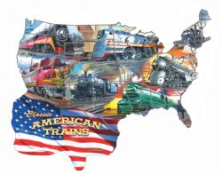 Classic American Trains United States Shaped