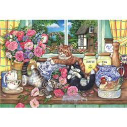 Kittens in the Kitchen Flowers Jigsaw Puzzle