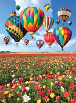 Colorful Balloons Over a Field of Flowers (Colorluxe) Balloons Jigsaw Puzzle