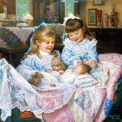Little Girls Quilting & Crafts Jigsaw Puzzle