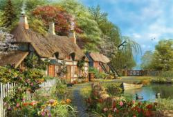 Riverside Home in Bloom Cottage / Cabin Jigsaw Puzzle