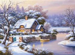 Winter Evening Cottage/Cabin Jigsaw Puzzle