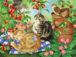 Under the Cherry Tree Kittens Jigsaw Puzzle