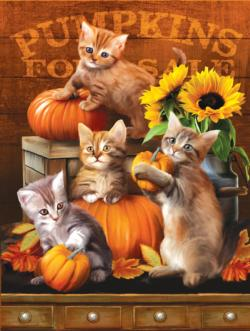 Autumn Kitties Flowers Jigsaw Puzzle