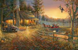 Autumn Ride Sunrise / Sunset Jigsaw Puzzle