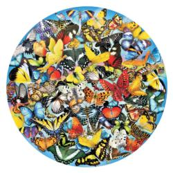 Butterflies in the Round Collage Round Jigsaw Puzzle
