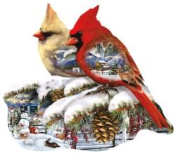 Winter Cardinals Snow Jigsaw Puzzle