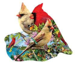 Summer Cardinals Birds Jigsaw Puzzle
