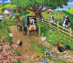 A Peaceful Ride Chickens & Roosters Jigsaw Puzzle