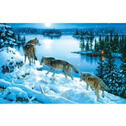 Moon Shadow Wolves Jigsaw Puzzle