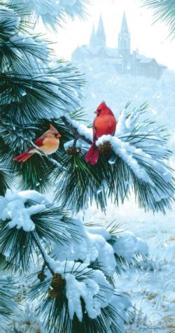 Cardinal's Church Snow Jigsaw Puzzle