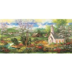 Little White Church Landscape Jigsaw Puzzle