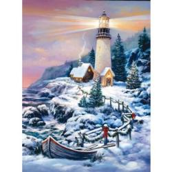 Christmas Lighthouse Snow Jigsaw Puzzle