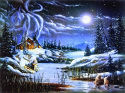 Two by the Night Winter Jigsaw Puzzle