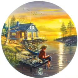 Fishing for Dreams Sunrise / Sunset Round Jigsaw Puzzle