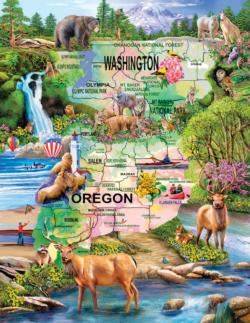 Pacific Northwest Adventure Maps Jigsaw Puzzle