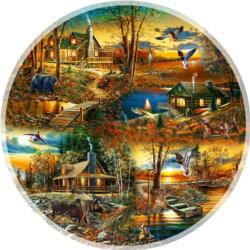 Cabins in the Woods Sunrise / Sunset Round Jigsaw Puzzle