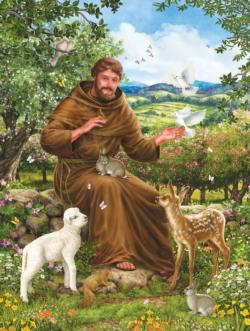 St. Francis & the Animals - Scratch and Dent Baby Animals Jigsaw Puzzle