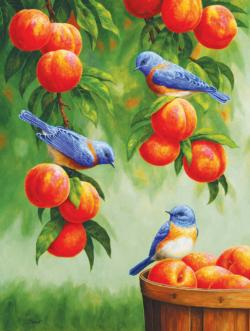 Bluebirds and Peaches Nature Large Piece