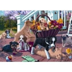 Puppy Playtime Flowers Jigsaw Puzzle