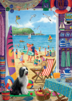 Through the Beach Hut Door Seascape / Coastal Living Jigsaw Puzzle