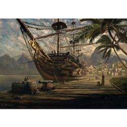 Ship at Anchor Under The Sea Jigsaw Puzzle