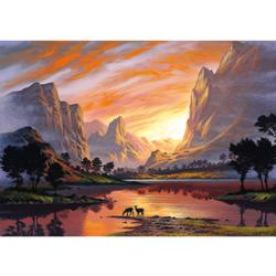 Valley in Golden Light Sunrise/Sunset Jigsaw Puzzle