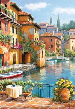 Café at the Canal Lakes / Rivers / Streams Jigsaw Puzzle