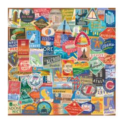 Vintage Travel Luggage Labels Travel Jigsaw Puzzle