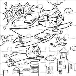 Superhero Color in Puzzle Super-heroes Children's Coloring Books - Pads - or Puzzles