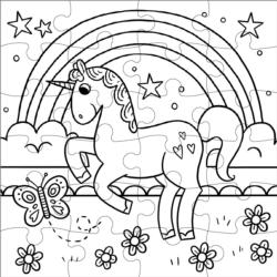 Magical Unicorn Color in Puzzle Unicorns Children's Coloring Books - Pads - or Puzzles