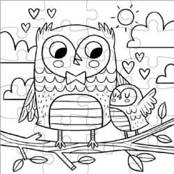 Sweet Owls Color in Puzzle Birds Children's Coloring Books - Pads - or Puzzles