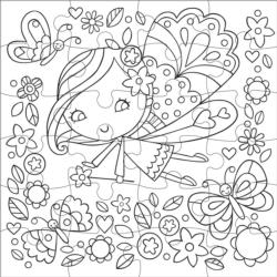 Flower Fairy Fairies Coloring Puzzle