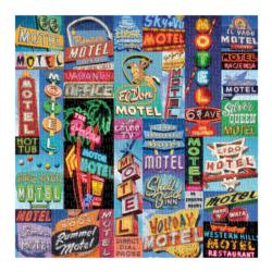 Vintage Motel Signs Collage Jigsaw Puzzle