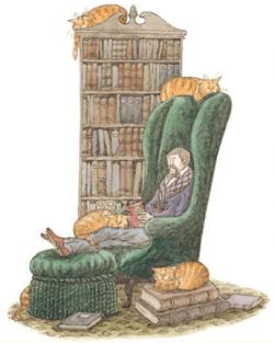 Bibliophile with Cats (Mini) Cats Jigsaw Puzzle