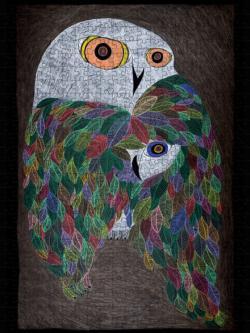 Colourful Wild Owl Owl Jigsaw Puzzle