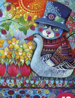 Cat With Goose Americana & Folk Art Children's Puzzles
