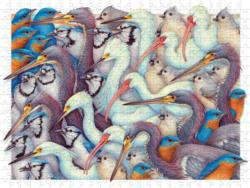 Whites and Blues Birds Jigsaw Puzzle