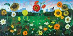 Sunset Dog's Dream Flowers Jigsaw Puzzle