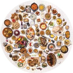 The 100 Most Jewish Foods Food and Drink Round Jigsaw Puzzle