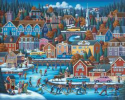 Canadian Hockey Folk Art Jigsaw Puzzle