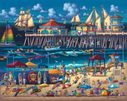 Huntington Beach Folk Art Jigsaw Puzzle