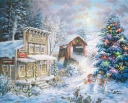 Country Christmas Store Snow Jigsaw Puzzle