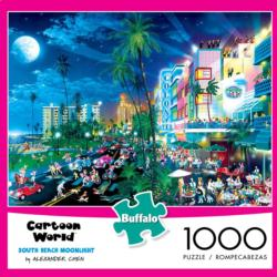 South Beach Moonlight (Cartoon World) Travel Jigsaw Puzzle